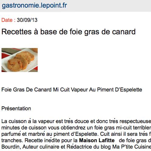 recette de foie gras le point