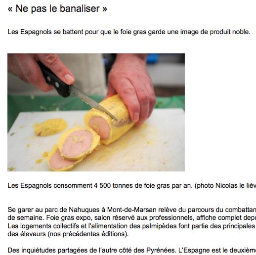 Sud Ouest article foie gras