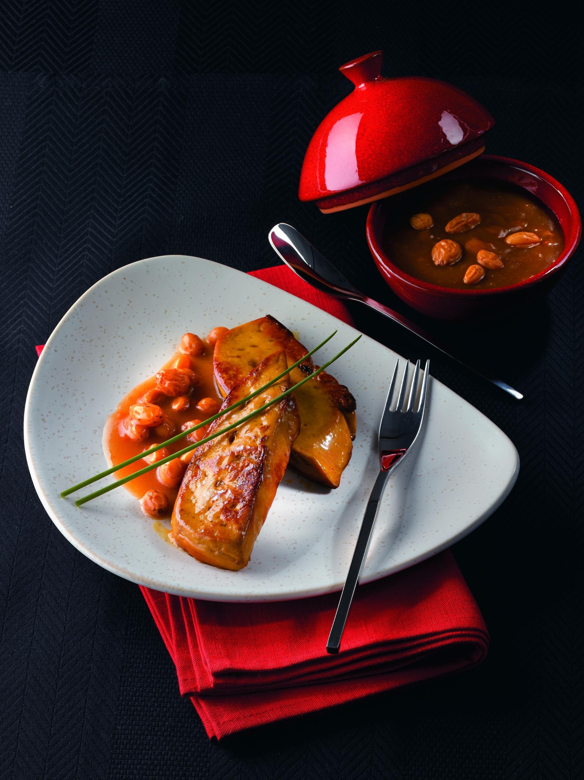 Escalopes de foie gras sauce aux raisins